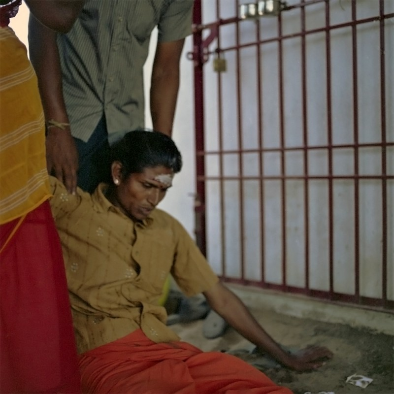 Sivagami, in trance state, after slaughtering a goat at her temple.
