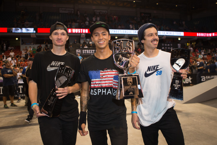 FAMILIAR FACES: 3rd, 1st and 2nd, from left to right, Shane O'Neill, Nyjah Huston and Luan Oliveira.