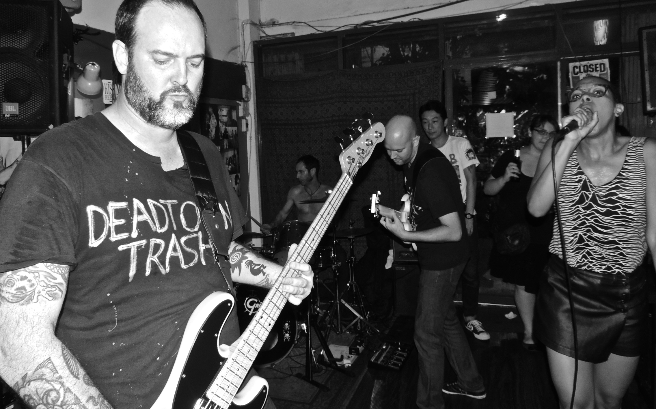 TRASHING IT: Aaron, Keith, Steve (who has left) and  Brittany of Deadtown Trash performing at at Fatty's, Bangkok.