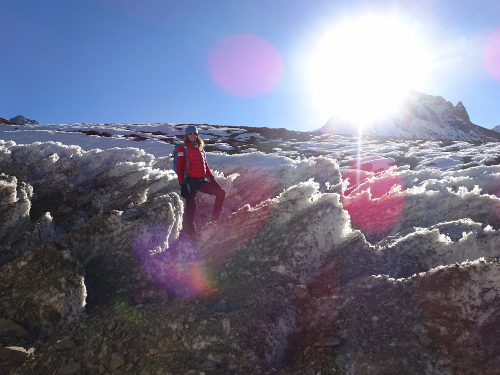Christine Armour-Levar crossing a glacier on the  way to the Ngula Dhojyang Pass