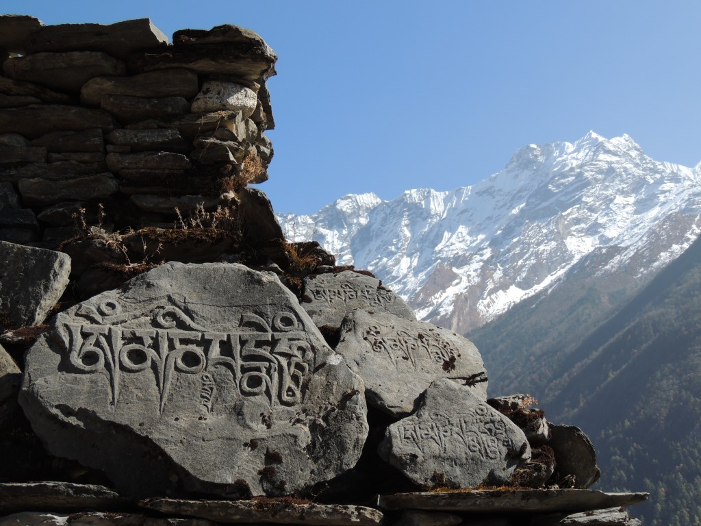One of the many hand-carved prayer stoned encountered on WOAM's trek