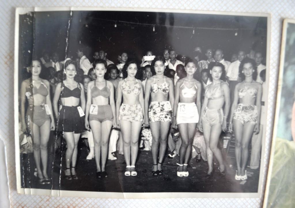 Contestants at the Miss Singapore pageant. Ah Ma is on the extreme left.