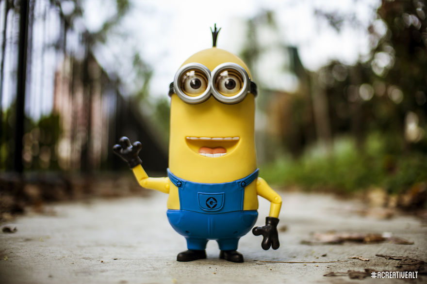 Tim the Minion posing for a shot.