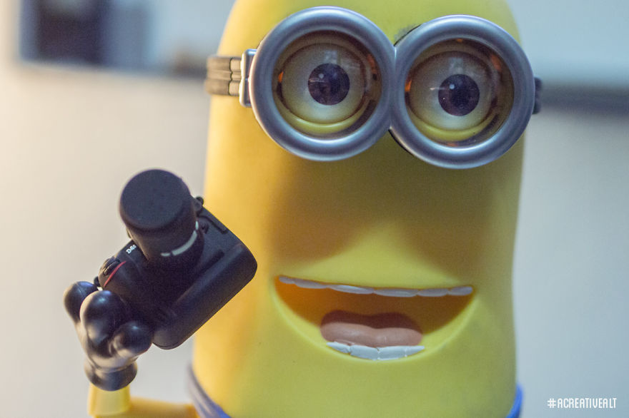 "Tim the Minion with a mini camera: ""Is this how you take a selfie?"""