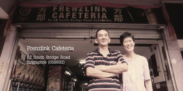 Uncle Ah Cai and his wife at their 'kopitiam', Frenzlink Cafeteria.