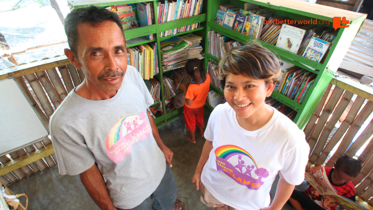Baco with Nila Tanzil – the founder of Rainbow Reading Gardens.