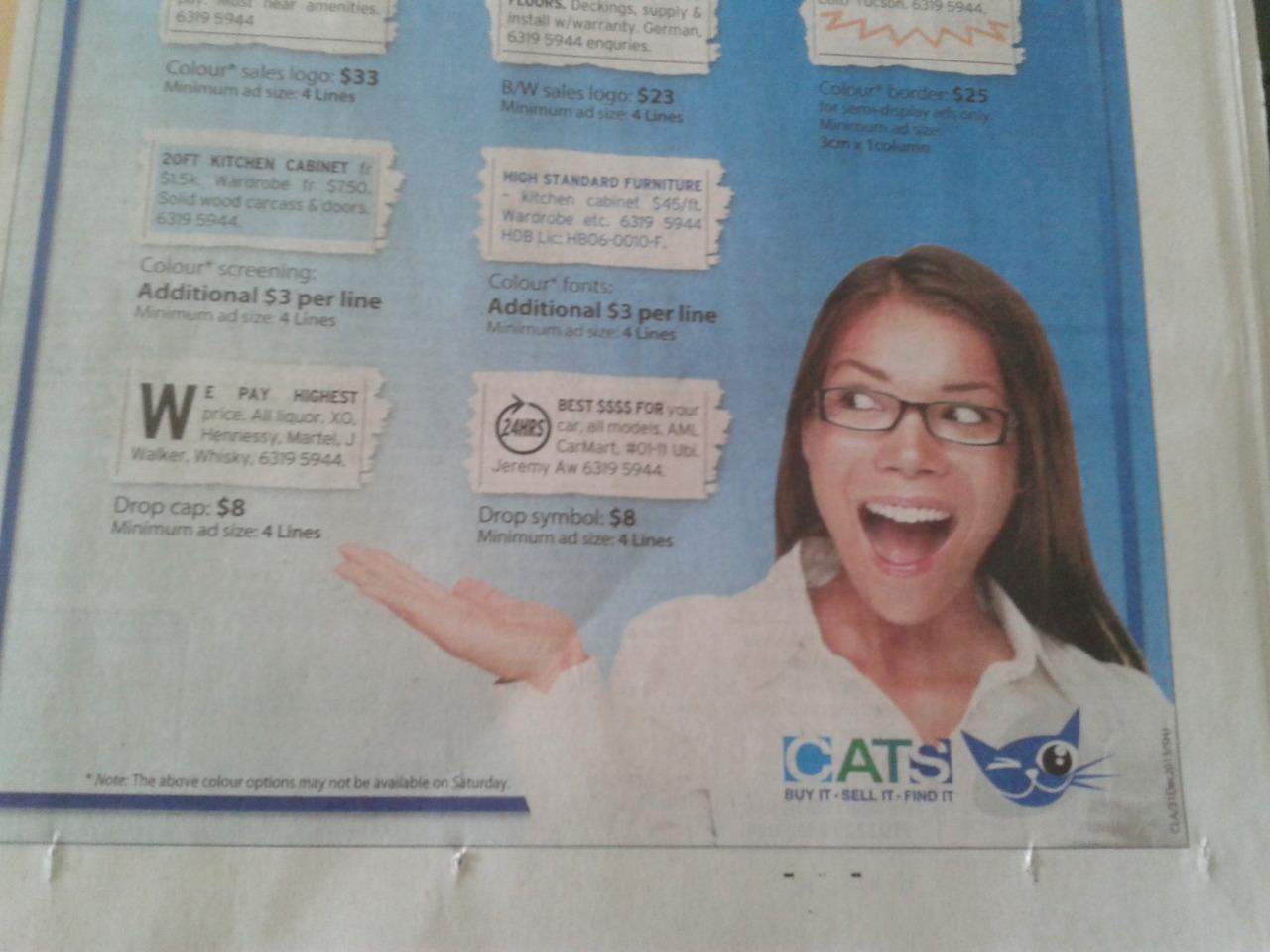 Cats newspaper advertisements