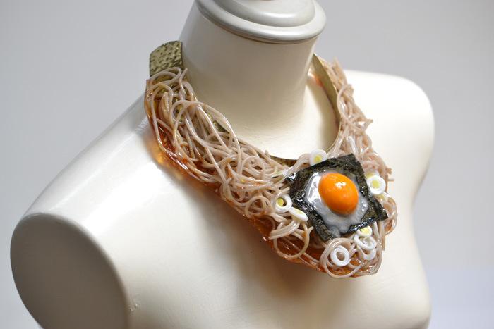 Soba noodle necklace.