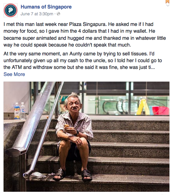 A man Shitij met at Plaza Singapura who asked him for money for food.