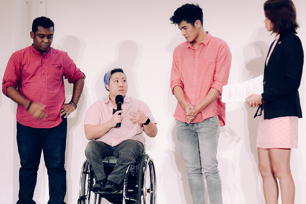 Paralympian Theresa Goh, second from left, was surprised at the support from local SMEs.