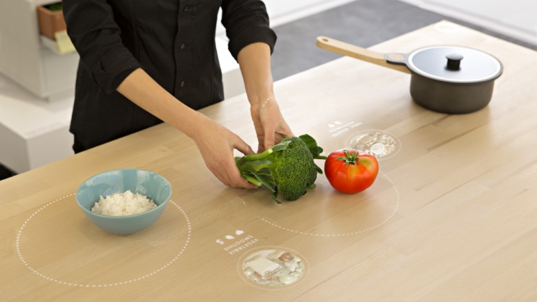Place ingredients on the table for recipe suggestions