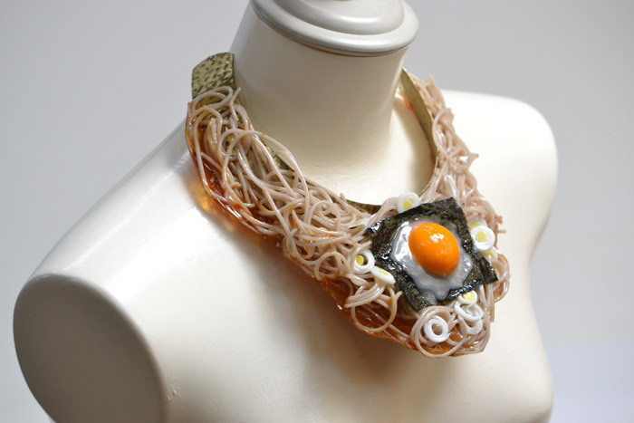 Soba noodle necklace.
